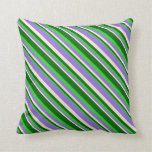 [ Thumbnail: Beige, Purple, Lime Green, and Dark Green Lines Throw Pillow ]