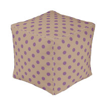 Beige/Purple Polka Dot Pouf