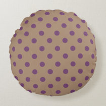 Beige/Purple Polka Dot Round Pillow