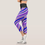 [ Thumbnail: Beige, Purple, Tan, and Blue Colored Lines Leggings ]