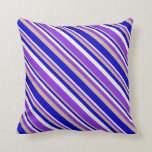 [ Thumbnail: Beige, Purple, Tan, and Blue Colored Lines Pillow ]