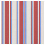 [ Thumbnail: Beige, Red, and Cornflower Blue Colored Pattern Fabric ]