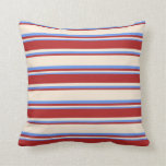 [ Thumbnail: Beige, Red, and Cornflower Blue Colored Pattern Throw Pillow ]