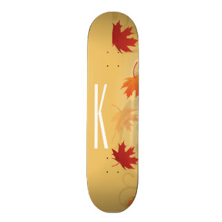 Beige, Red, and Orange Autumn, Fall Leaves Skateboards