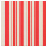 [ Thumbnail: Beige & Red Colored Lines/Stripes Pattern Fabric ]