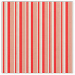 [ Thumbnail: Beige, Red & Dark Salmon Colored Stripes Pattern Fabric ]