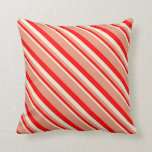 [ Thumbnail: Beige, Red & Dark Salmon Colored Stripes Pattern Throw Pillow ]