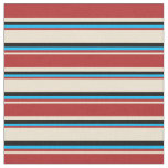 [ Thumbnail: Beige, Red, Deep Sky Blue & Black Stripes Fabric ]