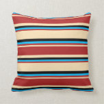 [ Thumbnail: Beige, Red, Deep Sky Blue & Black Stripes Pillow ]