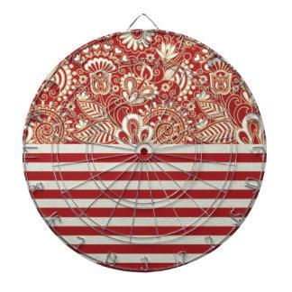 beige red terracotta stripes floral pattern dart board