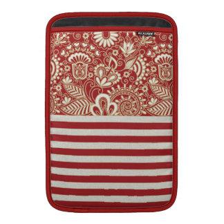 beige red terracotta stripes floral pattern MacBook air sleeve