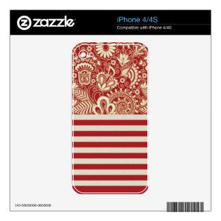 beige red terracotta stripes floral pattern iPhone 4 skin