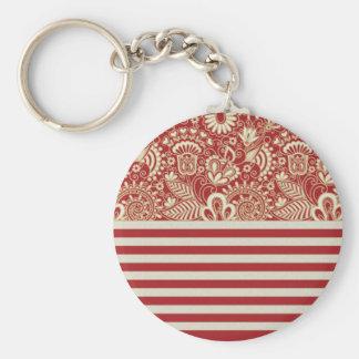 beige red terracotta stripes floral pattern keychain