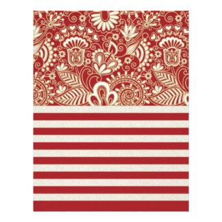 beige red terracotta stripes floral pattern customized letterhead