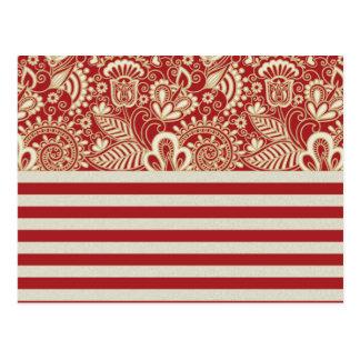 beige red terracotta stripes floral pattern postcard
