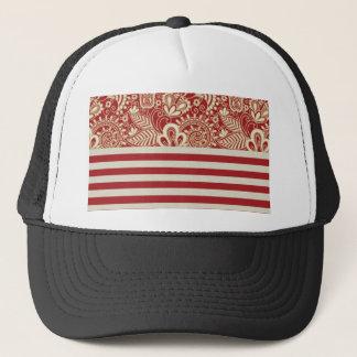 beige red terracotta stripes floral pattern trucker hat