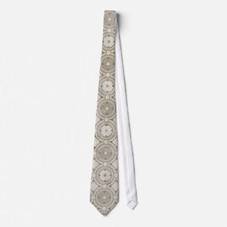 Beige Round Tiled Mosaic Pattern Neck Tie