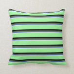 [ Thumbnail: Beige, Royal Blue, Dark Olive Green, Black & Green Throw Pillow ]
