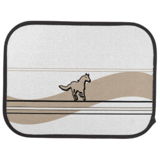 Beige Running Horse Design Car Floor Mat