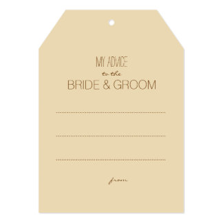"""Beige Rustic My Advice To The Couple Tag 5"""" X 7"""" Invitation Card"""