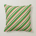 [ Thumbnail: Beige, Salmon, and Forest Green Colored Lines Throw Pillow ]