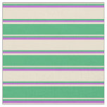 [ Thumbnail: Beige, Sea Green & Orchid Lines/Stripes Pattern Fabric ]