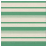 [ Thumbnail: Beige & Sea Green Stripes Pattern Fabric ]