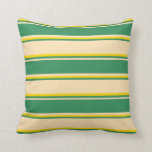 [ Thumbnail: Beige, Sea Green & Yellow Striped Pattern Pillow ]
