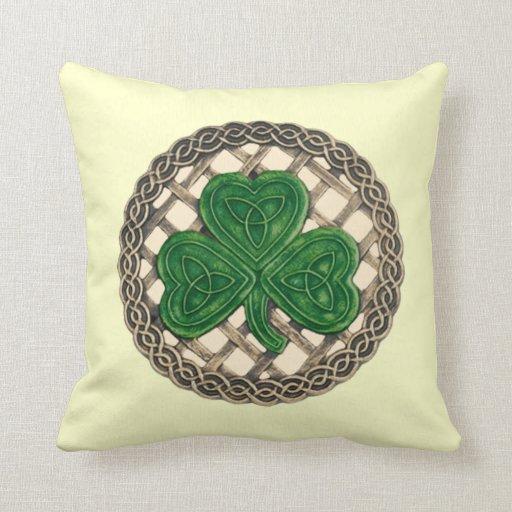 Beige Shamrock And Celtic Knots Reversible Pillow
