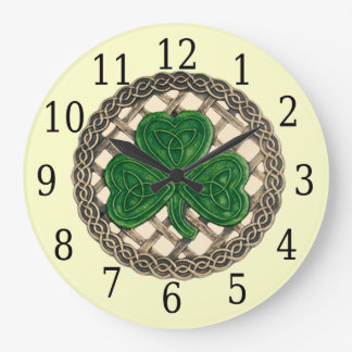 Beige Shamrock And Celtic Knots Round Clock
