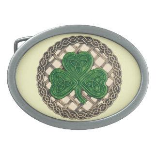 Beige Shamrock On Celtic Knots Belt Buckle