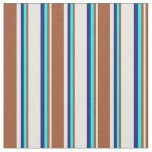 [ Thumbnail: Beige, Sienna, Cyan, and Midnight Blue Colored Fabric ]