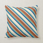 [ Thumbnail: Beige, Sienna, Cyan, and Midnight Blue Colored Throw Pillow ]
