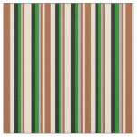 [ Thumbnail: Beige, Sienna, Dark Gray, Green, and Black Colored Fabric ]
