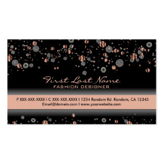 Beige silver glitter specs custom business cards
