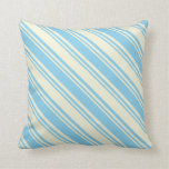 [ Thumbnail: Beige & Sky Blue Colored Striped Pattern Pillow ]