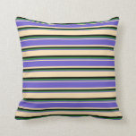 [ Thumbnail: Beige, Slate Blue, Forest Green, and Black Colored Throw Pillow ]
