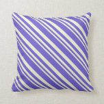 [ Thumbnail: Beige & Slate Blue Pattern Throw Pillow ]