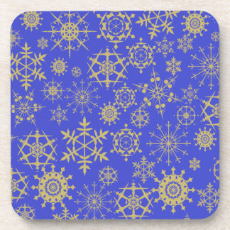 Beige Snowflakes Beverage Coaster