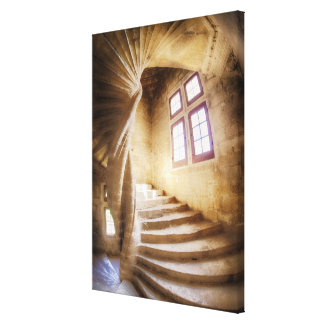 Beige spirl staircase, France Canvas Print