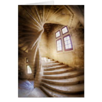 Beige spirl staircase, France Card
