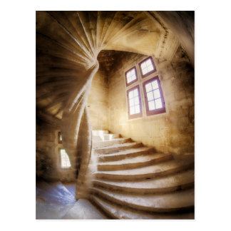 Beige spirl staircase, France Postcard