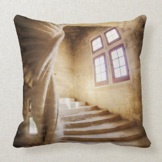 Beige spirl staircase, France Throw Pillow