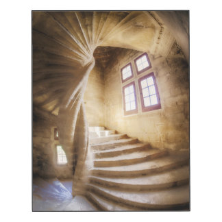 Beige spirl staircase, France Wood Wall Art