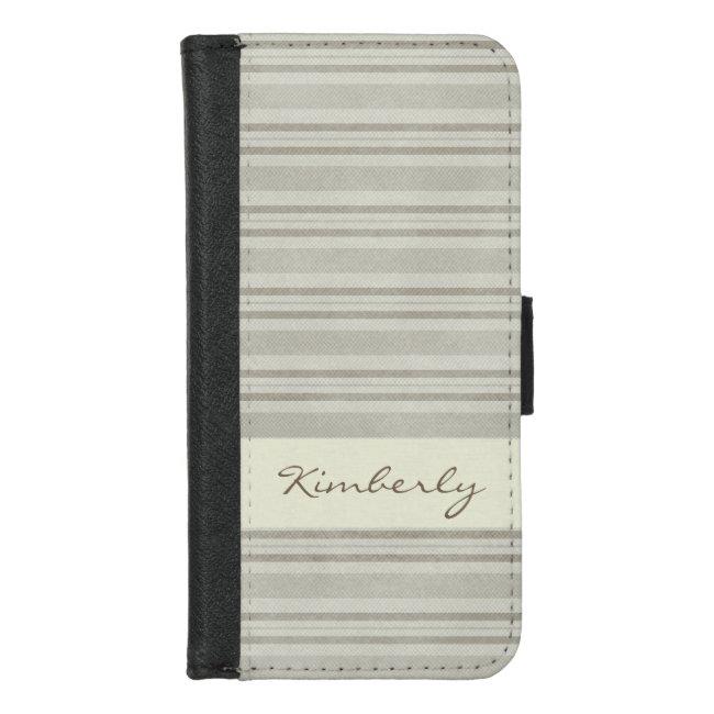 Beige Striped Faux Linen iPhone 8/7 Wallet Case