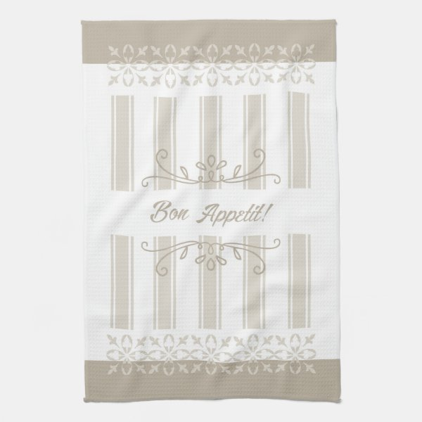 Beige striped french inspired bon appetit tea towel