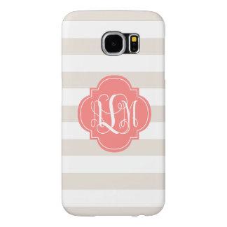 Beige Stripes and Coral Monogram Samsung Galaxy S6 Case