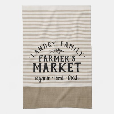 Beige Stripes Custom Farmer's Market   Farmhouse Kitchen Towel