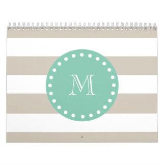 Beige Stripes Pattern, Mint Green Monogram Calendars