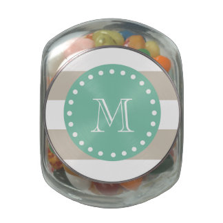 Beige Stripes Pattern, Mint Green Monogram Glass Candy Jars